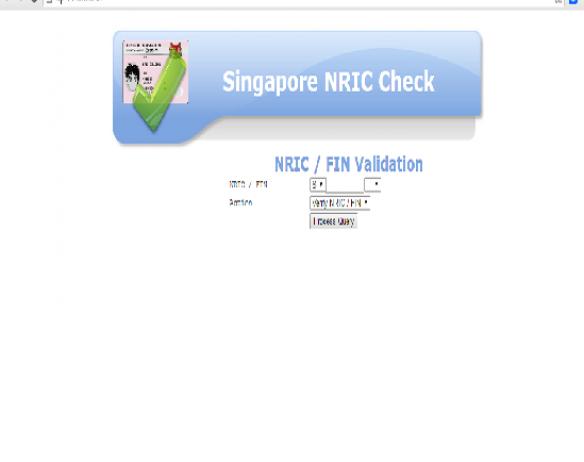Singapore NRIC Check